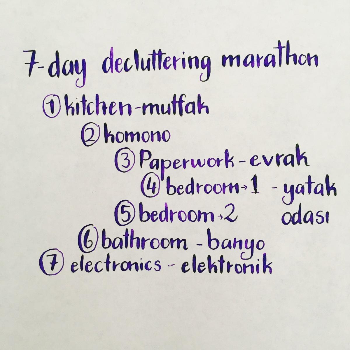 Seven Day Decluttering Marathon- Yedi Günlük Azaltma Maratonu