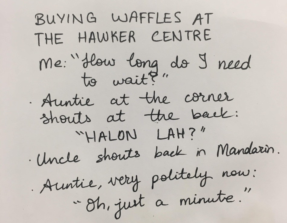 buying waffles at the hawker centre